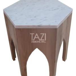 Moroccan Side Table – Marble and Walnut