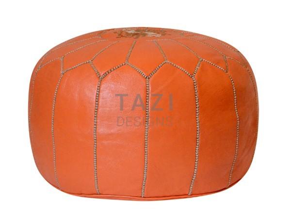 Orange pouf with Khaki Stitching