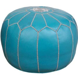 Turquoise Leather Pouf with Beige Stitching