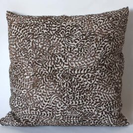 Brown Moroccan Embroidered Cushion 19.5″