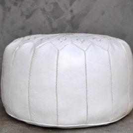 White Pouf With White Stitching 22X14