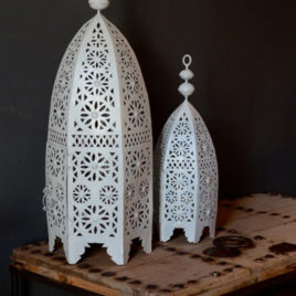 Set of Two Exotic Outdoor Lanterns, White