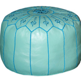 Teal Leather Pouf
