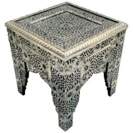 Square Accent Table in Silver Metal