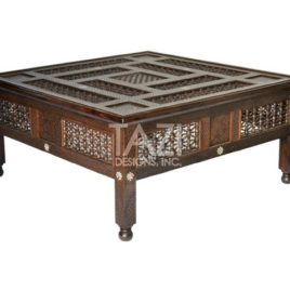 Carved Wood Moroccan Coffee Table