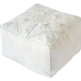 Square White Pouf