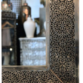 Rectangular Pierced Brass Mirror, Large