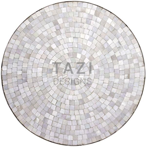 Bistro White Moroccan Mosaic Table In 30u2033 Diameter