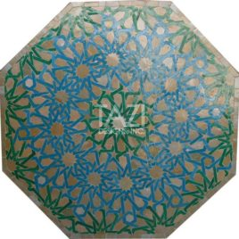 Octagonal Mosaic Table in Turquoise Moorish Design