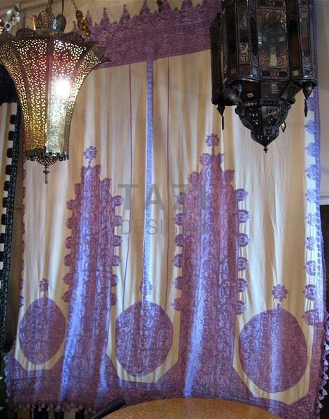 moroccan embroidered curtain and bed spread tazi designs