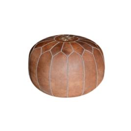 Tan Leather Pouf