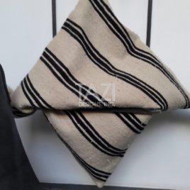 Black Stripe Wool Cushion