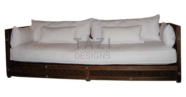 Exceptional Moroccan Sofa U2013 Bone Inlay And White Cotton Slip Covers