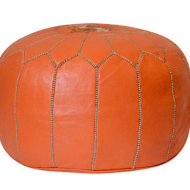 Orange Pouf with Khaki Stitching