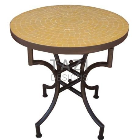 Moroccan Mosaic Table – 24″ Bistro table in orange tile