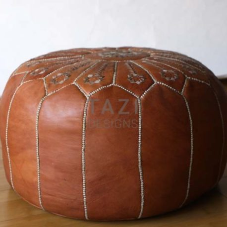 Tan Moroccan leather pouf Embr. 22″x14″