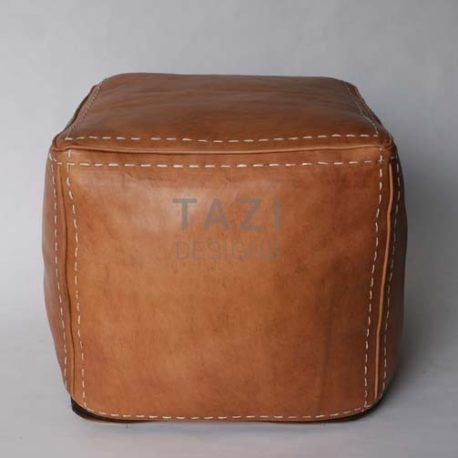 Tan Moroccan Leather Pouf HS 18″ sqr