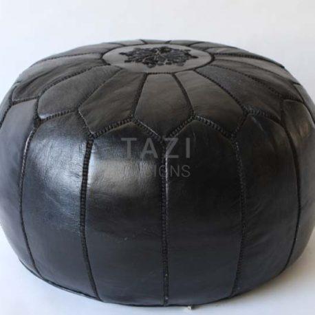 Black Moroccan Leather Pouf 20