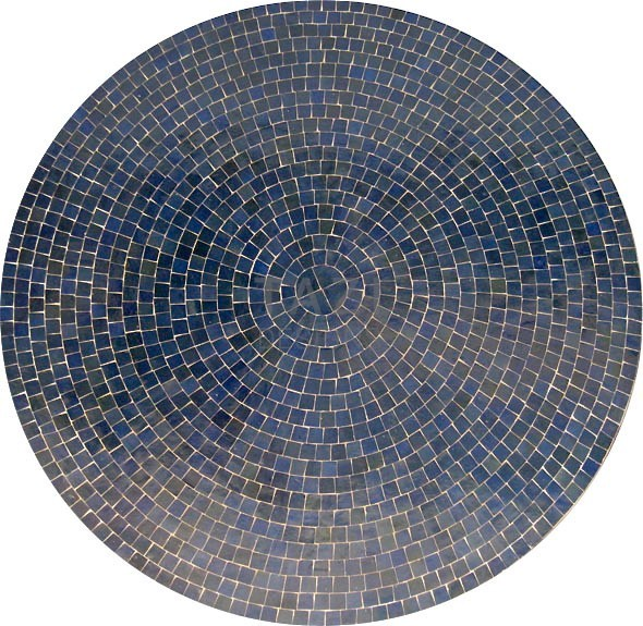 Round Blue Moroccan Mosaic Table 48 Tazi Designs