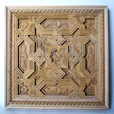 Moorish Wood Carved Square Panel