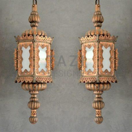 A Venetian Copper Hanging Lanterns (Pair)