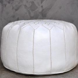 White Pouf With White Stitching 22X14