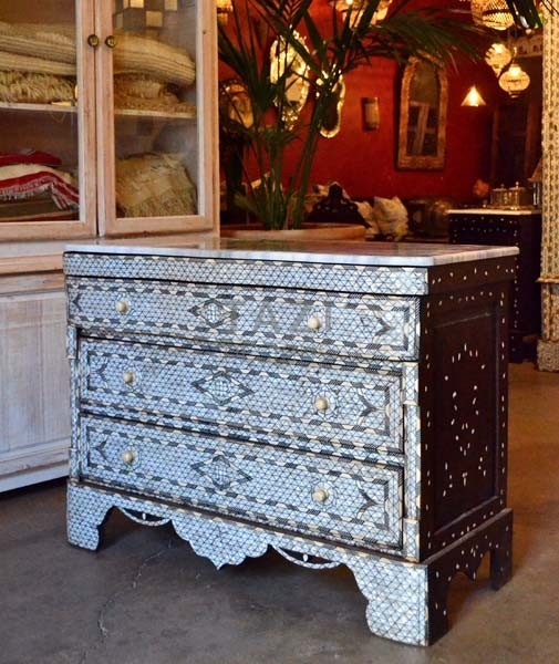 A Syrian Mother Of Pearl Bench Available To Purchase At: Syrian Chest Dresser