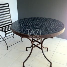 Bistro Dark Blue Moroccan Mosaic Table in 36