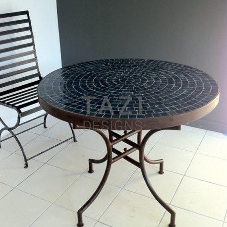 Bistro Dark Blue Moroccan Mosaic Table in 36