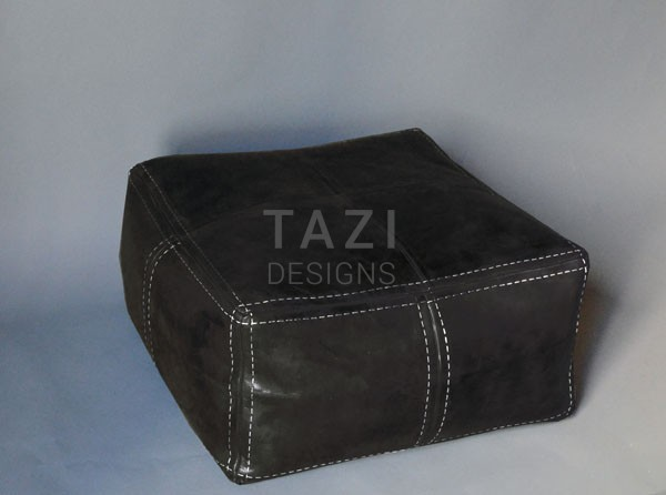 Square Moroccan Pouf Black Tazi Designs