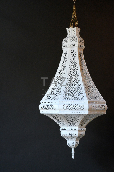 Painted Moroccan Lantern – White 35