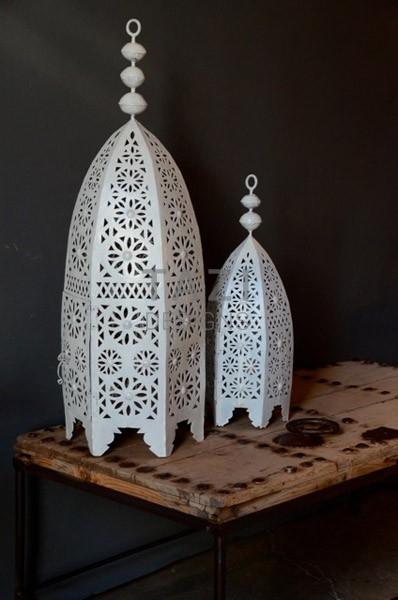 Set of Two Exotic Outdoor Lanterns, White