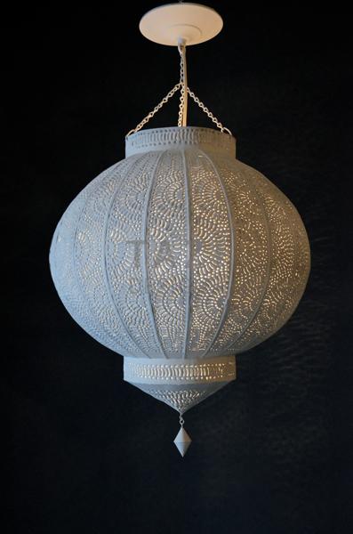 Moroccan Lantern White Tin Pendant Tazi Designs