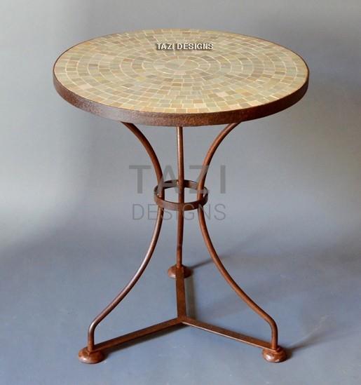 Moroccan Mosaic Side Table, 24u2033 Diameter