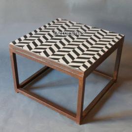 Mosaic Side Table 24″ – Herringbone Black & White