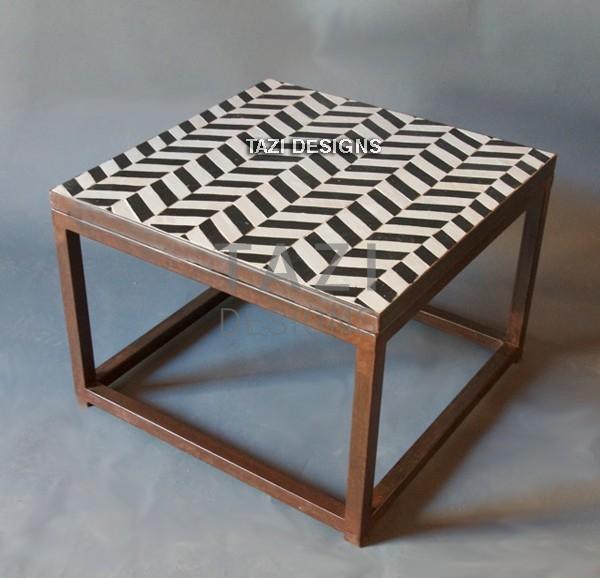 Beau Mosaic Side Table 24u2033 U2013 Herringbone Black U0026 White