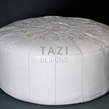 White Moroccan Pouf with White Stitching 42