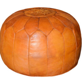Burnt Orange Leather Pouf