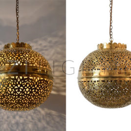 Contemporary Moroccan Hanging Light, Shiny Gold
