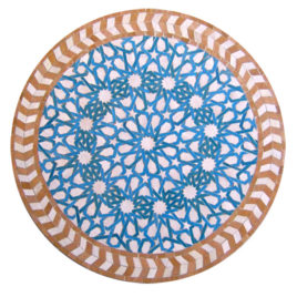 White, Turquoise & Natural Mosaic Tile Table