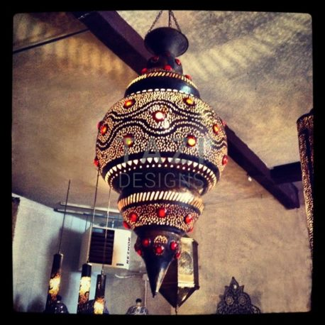 Moroccan Hanging Light – Red Marbles