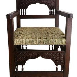 Moroccan Wood Chair With Woven Seat