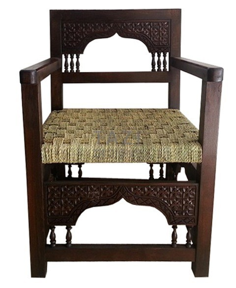 Moroccan Wood Chair With Woven Seat Tazi Designs