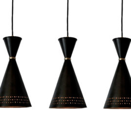 Contemporary Bronze Pendant Light, Funnel