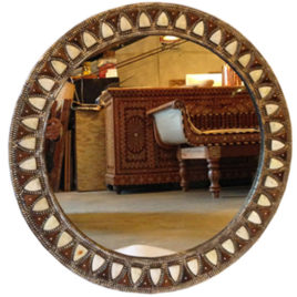 Embossed Brass and Bone Inlay Mirror, Round