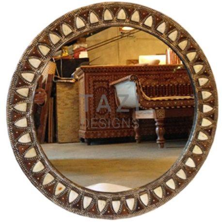Embossed Brass and Bone Inlay Mirror, Round