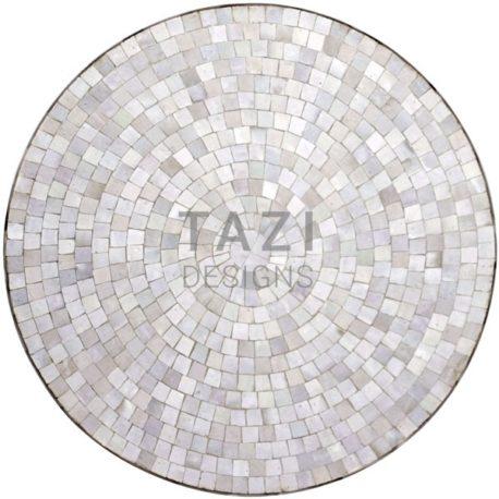 Bistro White Moroccan Mosaic Table in 30″ Diameter