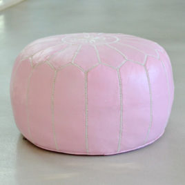 Pink and White Pouf