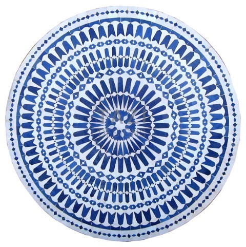 White Blue Mosaic Table 48
