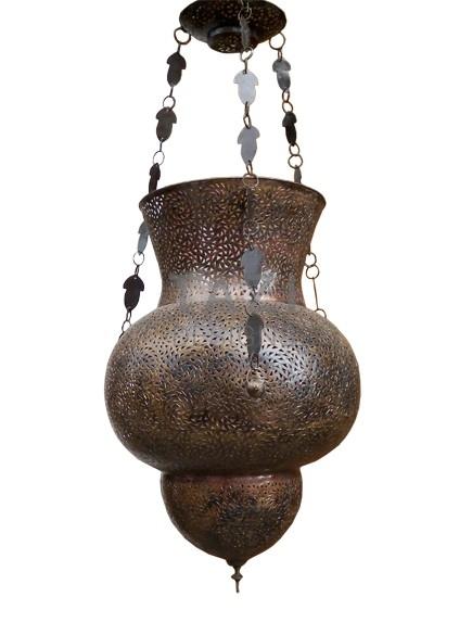 Moroccan Light Fixture – Pierced brass lamp – large